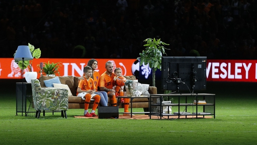 Sneijder's 134th and last appearance for Netherlands last year was preceded by him and his family watching a highlights reel on a couch on the pitch