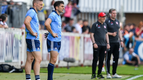 Eoghan O'Gara (L) and Bernard Brogan both came on as substitutes against Tyrone