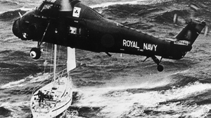 A Royal Navy helicopter rescues the crew of the yacht Camargue during the August 1979 Fastnet Race