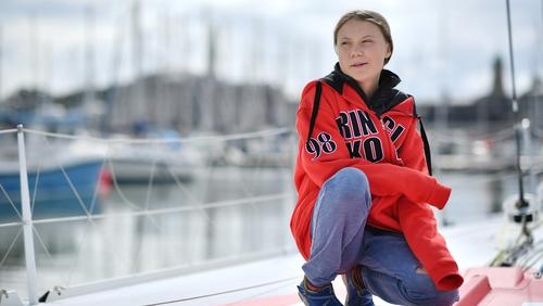 Greta Thunberg is sailing to New York.