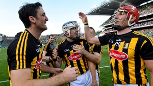 Colin Fennelly, left, TJ Reid, centre, and Cillian Buckley after the win over Limerick