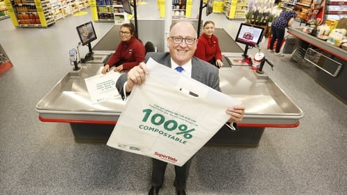 Supervalu managing director Martin Kelleher shows off the retailer's compostable shopping bag