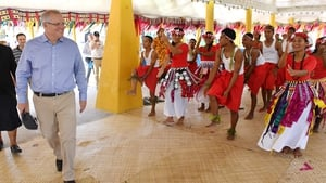 Australian Prime Minister Scott Morrison at the Pacific Islands Forum in Tuvalu