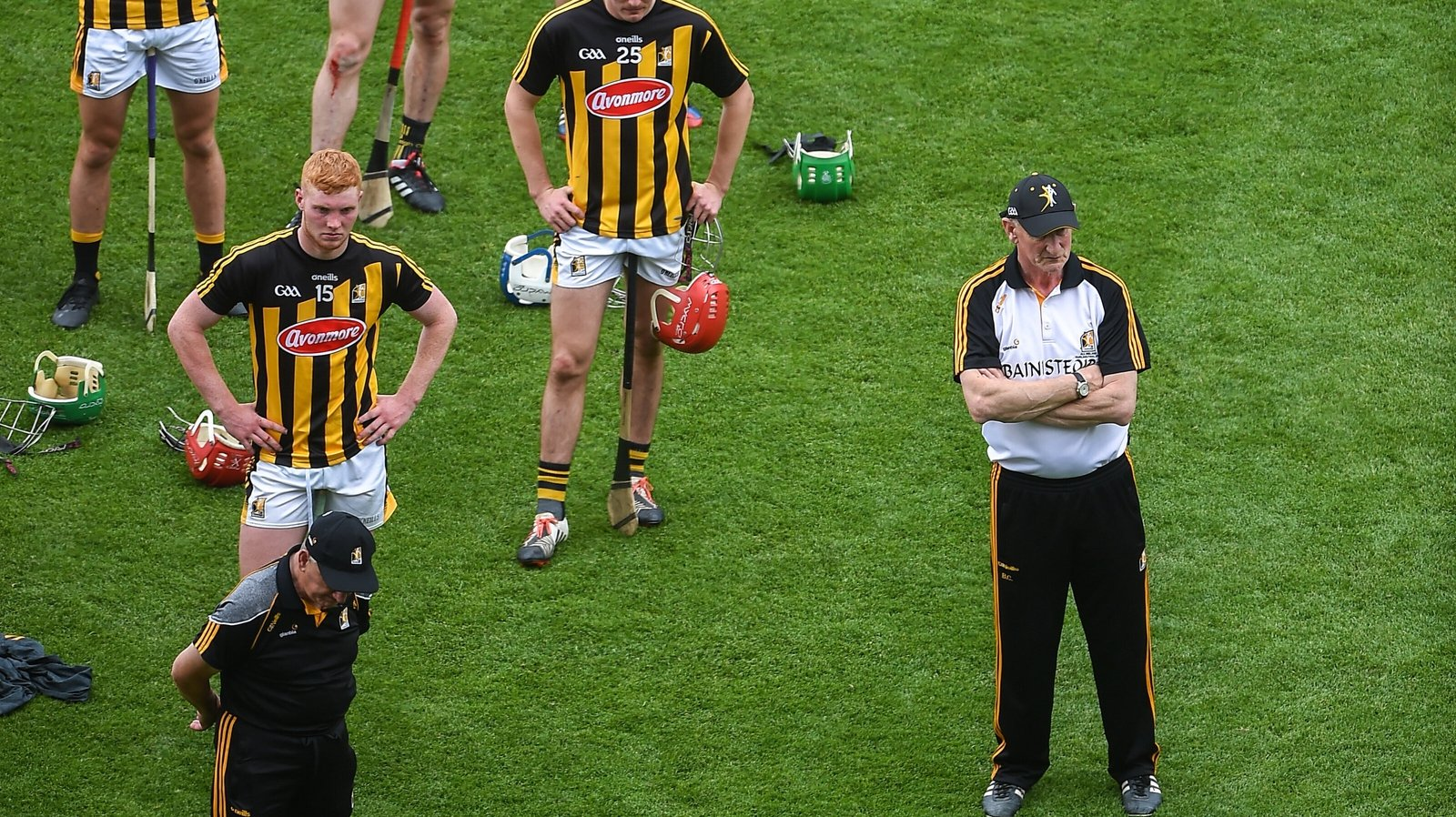Image - Brian Cody and his players watch the presentation after the Leinster final