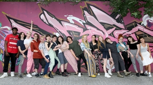 The ensemble cast of Ask To Much Of Me, assembled from Youth Theatres across Ireland