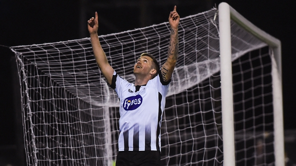 Patrick McEleney celebrates scoring his first and Dundalk's third goal
