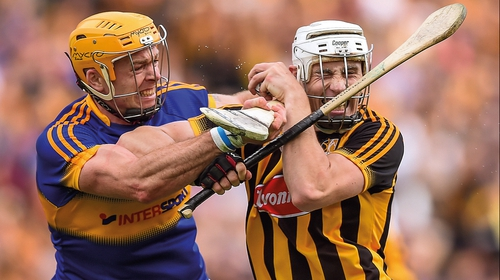 Tiperary's Padraic Maher (L) and Kilkenny's Liam Blanchfield clash in 2016