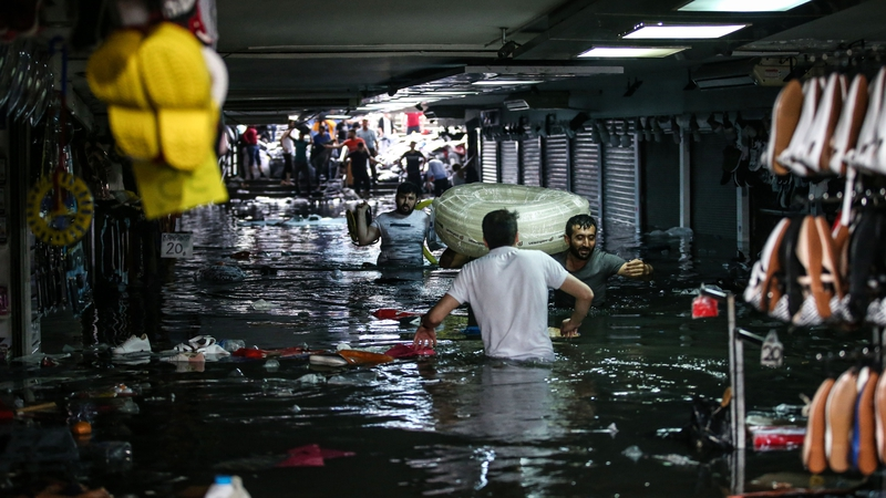 Istanbul's Grand Bazaar flooded in torrential downpour