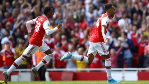 Pierre-Emerick Aubameyang celebrates his second match winning goal in a week
