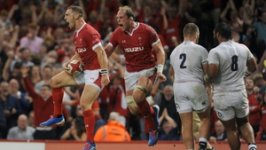 George North celebrates the only try of the game in Cardiff