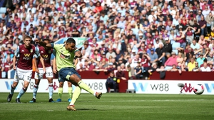 Joshua King scoring from the penalty spot for Bournemouth.