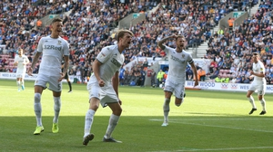 Patrick Bamford celebrates after scoring for Leeds