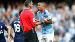 Manchester City's Gabriel Jesus appeals to referee Michael Oliver after his goal is ruled out by VAR