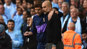 Spurs manager Mauricio Pochettino and City boss Pep Guardiola exchange views during the 2-2 draw