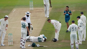 Steve Smith was struck by a 92mph bouncer from Jofra Archer during Saturday's play