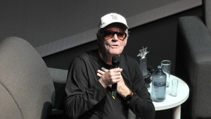 Peter Fonda, pictured in the course of a public interview at the Guadalajara International Film Festival in March of this year