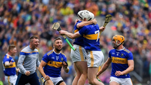Tipp players celebrating at the full-time whistle