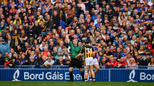 Richie Hogan receives his marching orders in the 33rd minute of the All-Ireland final