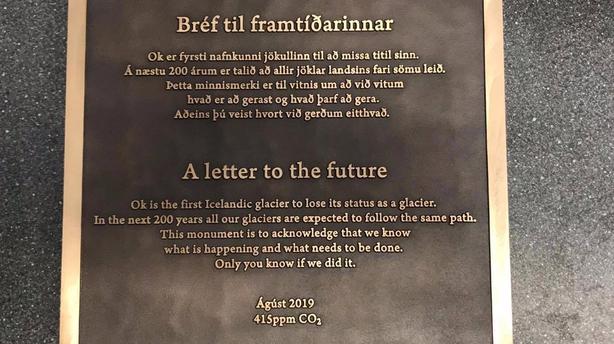 Plaque lost glacier Iceland