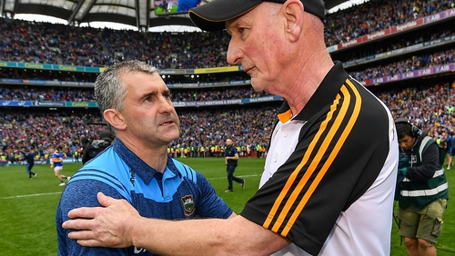 Liam Sheedy (l) and Brian Cody shake hands after Tipperary's All-Ireland final victory