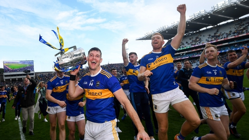 Tipperary players celebrate post-match at Croke Park
