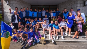 Tipperary players and management with hospital staff and patients in Crumlin