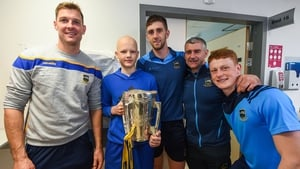 Jack Batt, aged 12, holds the Liam MacCarthy Cup