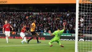Anthony Martial of Manchester United scores