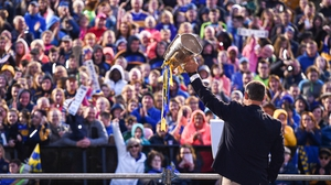 Liam Sheedy lifts Liam MacCarthy at the Tipperary homecoming at Semple Stadium