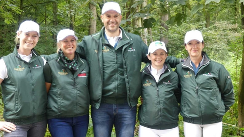 The Irish Dressage team (L-R): Kate Dwyer, Heike Holstein, Milan Djordjevic (Chef d'Equipe), Judy Reynolds and Anna Merveldt
