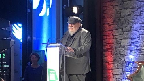 George R. R. Martin accepting his award