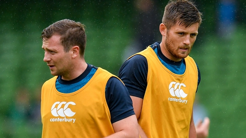 Jack Carty and Ross Byrne (r) are in line to see some action in Twickenham