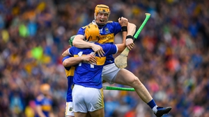 Jake Morris (25) celebrates with Jason Forde and Séamus Callanan after Tipperary's All-Ireland SHC win