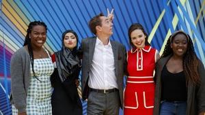 Demi Isaac Oviawe of Young Offenders, Minahil Sarfraz (The Teenage Ambassadors), Ryan Tubridy, Eileen O'Higgins (Dead Still) and Natasha  Maimba (The Teenage Ambassadors)