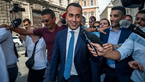 M5S's Luigi Di Maio speaks to the media during a meeting with the Democratic Party, a potential coalition partner