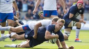 Chris Harris scores Scotland's second try