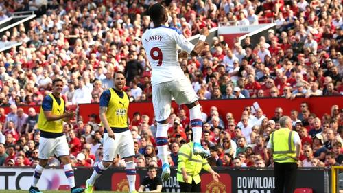 Jordan Ayew celebrates scoring the opening goal at Old Trafford