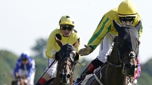 Colin Keane in the yellow and green steers Mustajeer to victory