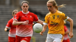 Orla Carr of  Antrim and Louth's Michelle McMahon Louth