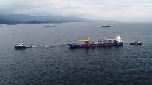 "Atlantic Towage responded to a call last Friday about the ""Onego Rio"" cargo ship that broke down in the mid-Atlantic ocean (Niall Duffy/West Cork Photo)"