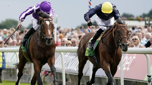 Ryan Moore riding Japan (purple) en route to victory in the Juddmonte International Stakes