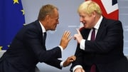 Donald Tusk (L) has spoken to Boris Johnson after today's Commons vote