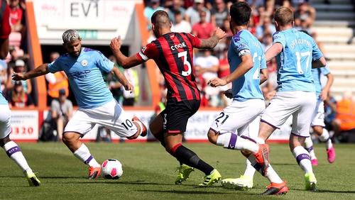 Manchester City's Sergio Aguero scores