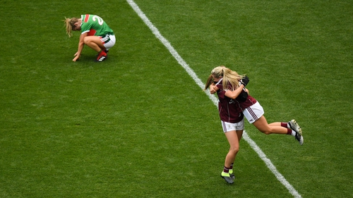 Galway players celebrate a dramatic victory over Mayo.