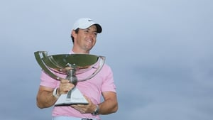 Rory McIlroy celebrates with the FedExCup trophy