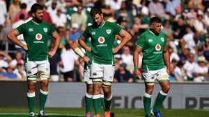 Dejected Ireland players during the bruising defeat to England at Twickenham
