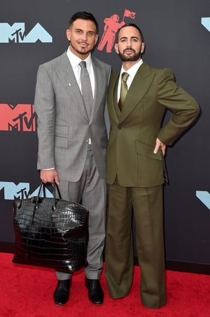 Char Defrancesco and Marc Jacobs in Huntsman. Photo: Getty