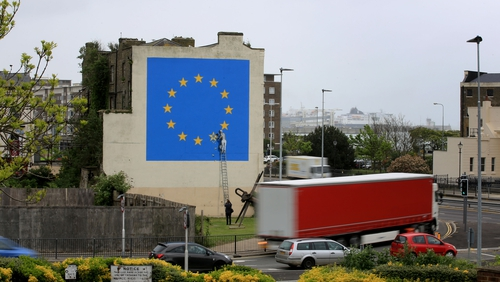 Brexit mural was painted on the side of Castle Amusements building by Banksy