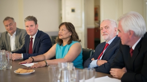 Jeremy Corbyn holds talks with other Labour MPs ahead of the meeting