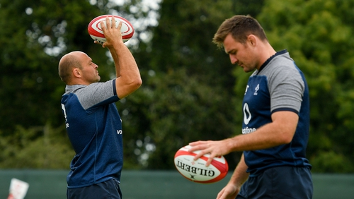 Rory Best (l) and Niall Scannell at training on Tuesday morning